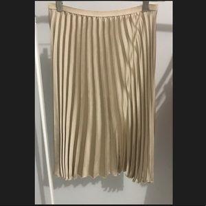 Zara Collection Pleated Gold Midi Skirt